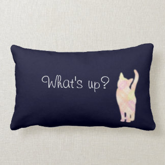 "Cat's gradation ""What's up?"" Blue cushion Throw"