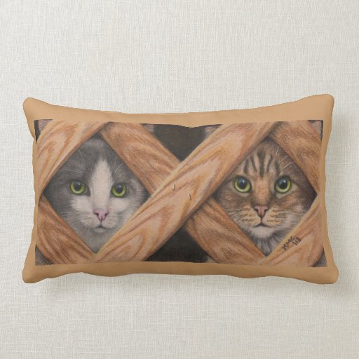 Cats Grey Tabby looking through lattice fence Pillows