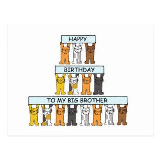 Cats Happy Birthday Big Brother. Postcard