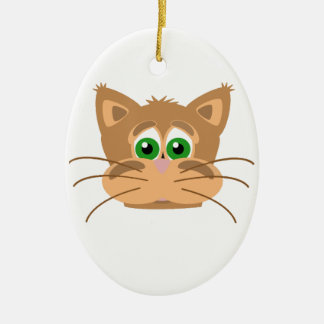 Cat's Head Ceramic Oval Decoration