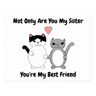 Cats Heart Sister Best Friend Personalize Postcard