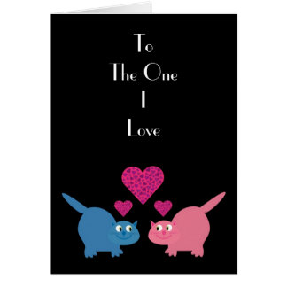 Cats & hearts To the One I Love greeting card