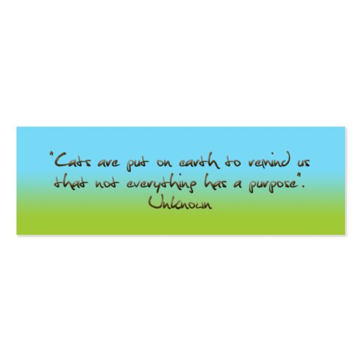 cats humorous quotation bookmark business card template