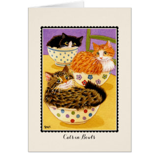Cats in Bowls Greetings Card Card