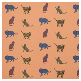 cats in color fabric