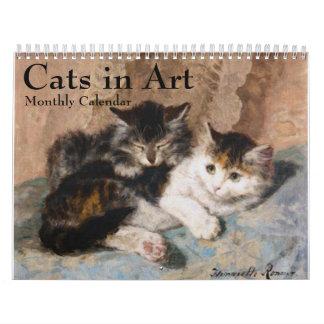 Cats in Fine Art Monthly Calendar