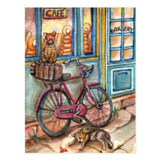 Cats in Front of Bakery Postcard