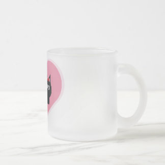 Cats in love frosted glass coffee mug