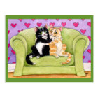 Cats in love postcard