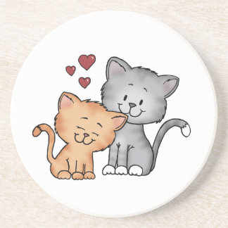 Cats in Love - Valentines Day Gift Beverage Coasters