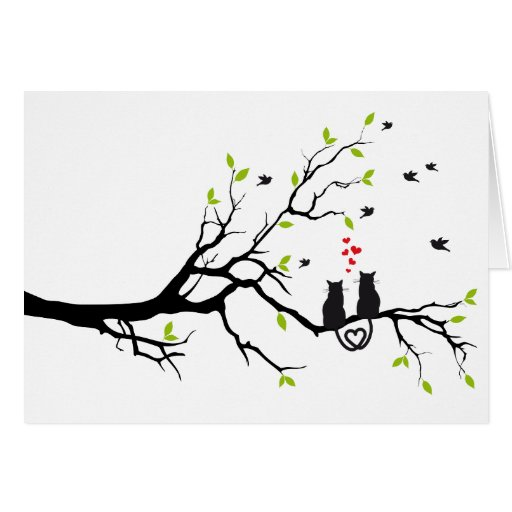 Cats in love with red hearts on spring tree card