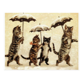 Cats in Snow with Umbrellas Postcard