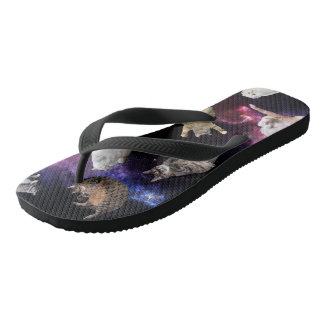 Cats in Space Flip Flops Thongs