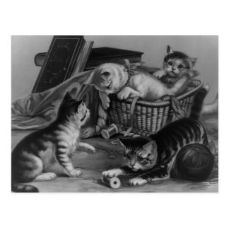 Cats in the Sewing Basket Postcard