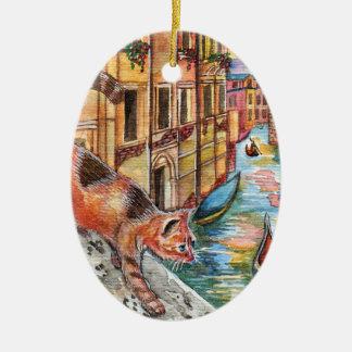 Cats In Venice Ceramic Ornament