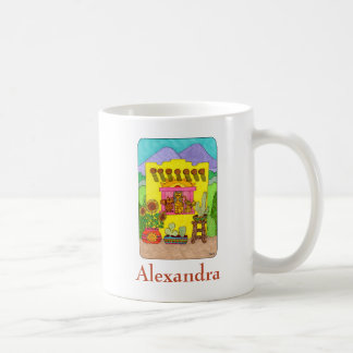 Cats in Yellow Adobe House Custom Name Coffee Mug