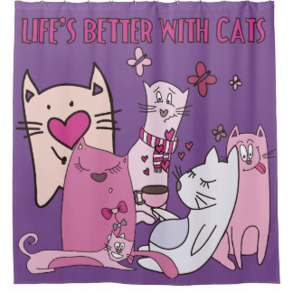 Cats Kittens Life's Better With Cats Shower Curtain