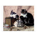 cats kittens playing tea party antique painting postcard