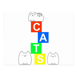 Cats, kittys and blocks postcard