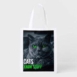 Cats Know Stuff Reusable Grocery Bag