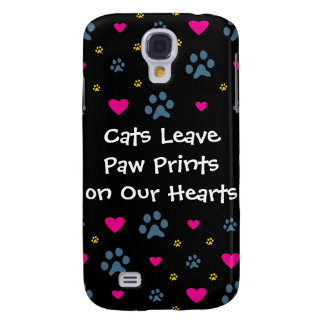 Cats Leave Paw Prints on Our Hearts Samsung Galaxy S4 Covers