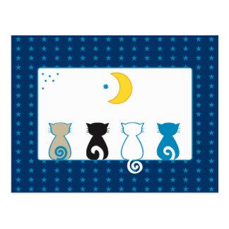 Cats Looking Moon postcard