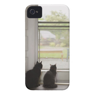 Cats looking out screen door iPhone 4 Case-Mate cases