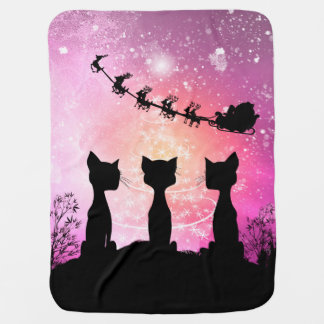Cats looks to the sky to Santa Claus Baby Blanket