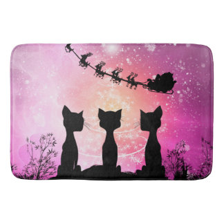 Cats looks to the sky to Santa Claus Bath Mats