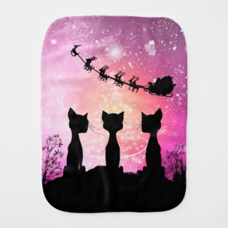 Cats looks to the sky to Santa Claus Burp Cloth