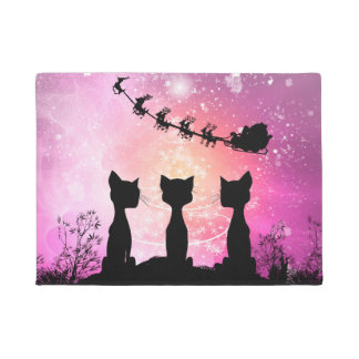 Cats looks to the sky to Santa Claus Doormat