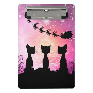 Cats looks to the sky to Santa Claus Mini Clipboard