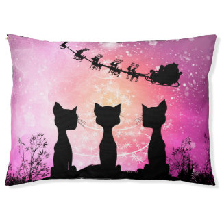 Cats looks to the sky to Santa Claus Pet Bed