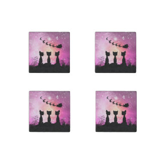 Cats looks to the sky to Santa Claus Stone Magnet