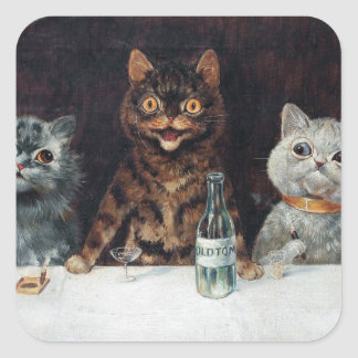 Cats, Louis Wain Square Sticker