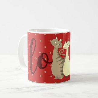 Cats Love Hand Drawn Polka Dots Red Mug Classic
