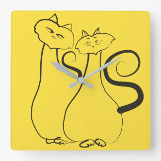 Cats Love Romantic Yellow Black Couple Hand Drawn Square Wall Clock