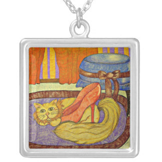 Cats Love Shoes Too!- artwork by Carol Zeock Silver Plated Necklace