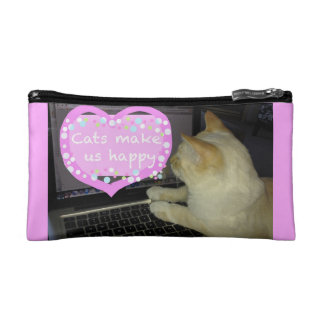 Cats make us happy cosmetics credit card case