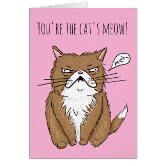 Cats Meow Funny Meh Cat Drawing Love Card