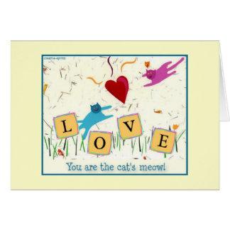 Cat's Meow Romantic greeting card