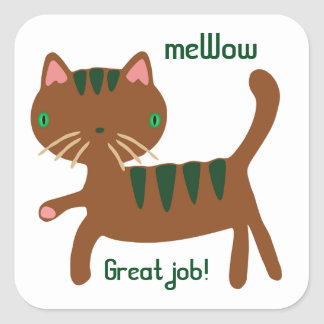 Cat's meWOW Customisable Great Job Sticker Square