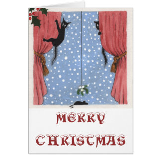 cats, mouse and mistletoe card