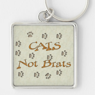 Cats Not Brats Silver-Colored Square Key Ring
