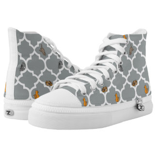 Cats on a Lattice - Grey Printed Shoes