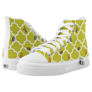 Cats on a Lattice - Yellow Printed Shoes