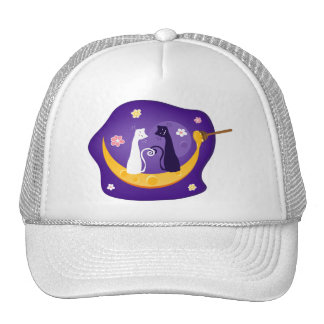 Cats on Honey Moon Trucker Hats