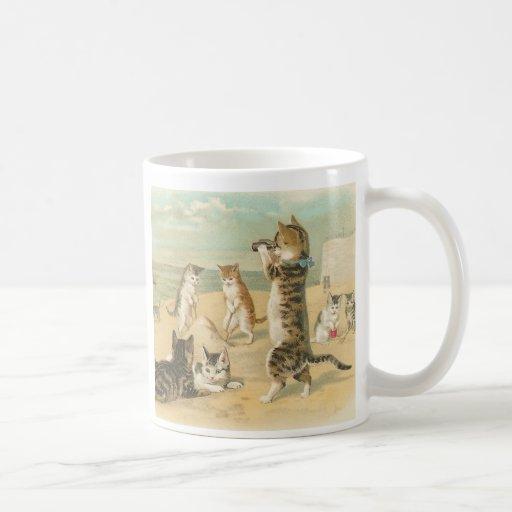 """Cats on the Beach "" Vintage Mug"