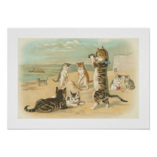"""Cats on the Beach "" Vintage Poster"