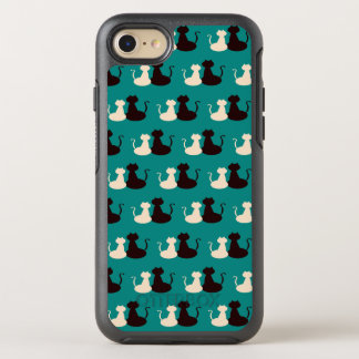 Cats Pattern Bright Blue Love Together Silhouette OtterBox Symmetry iPhone 8/7 Case